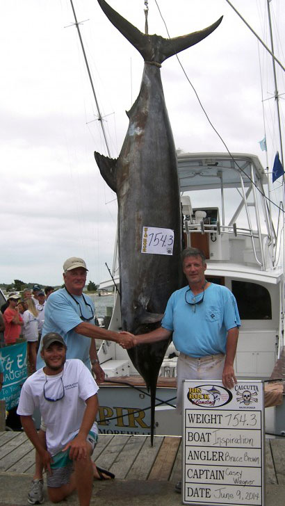 Captain Casey Wagner and Team Inspiration Leading Big Rock with 754.3 lbs marlin