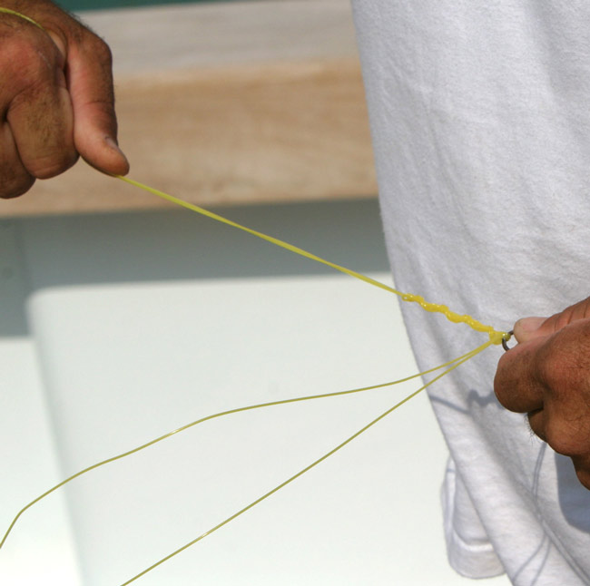 Next, moisten the entire knot and pull from the main line and swivel