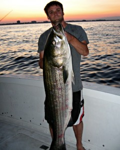 The author with a brute striped bass caught just off the Jersey Shore.