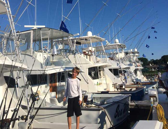 """Top Junior Angler- 10 year old Hayden Cowen fishing on the """"Cotton Picker"""" - 3 White Marlin releases"""