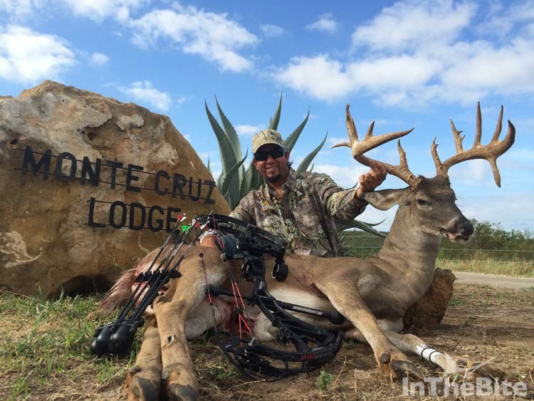 Capt. Russell Sinclair of the S/F Wave Paver with his trophy white tail from Monte Cruz Ranch, Uvalde, Texas