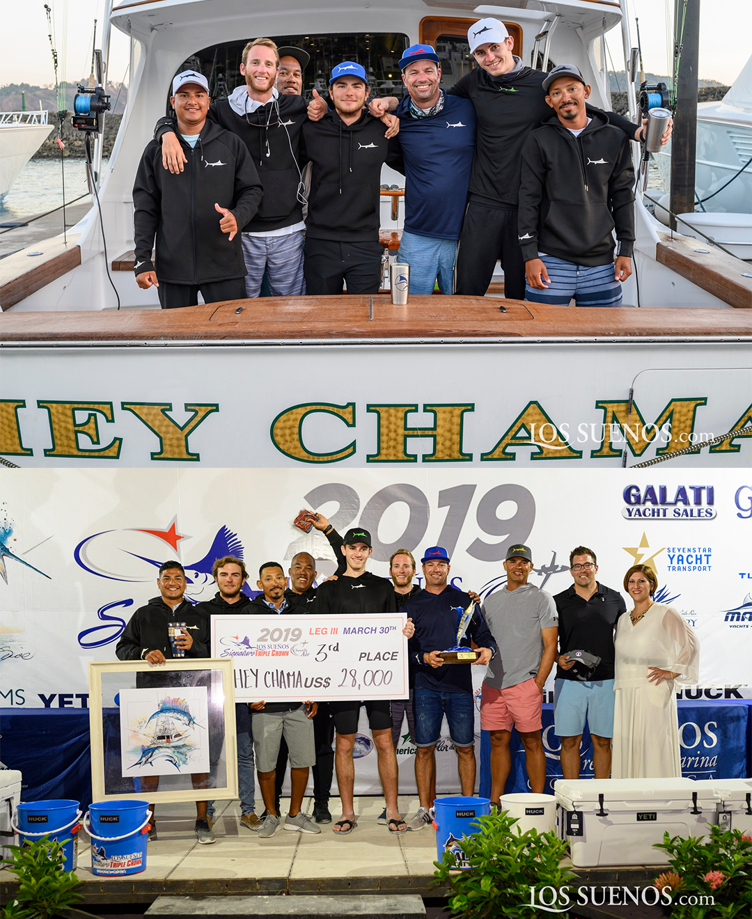 leo chapman and crewof the Hey Chama pose at the 2019 los suenos triple crown
