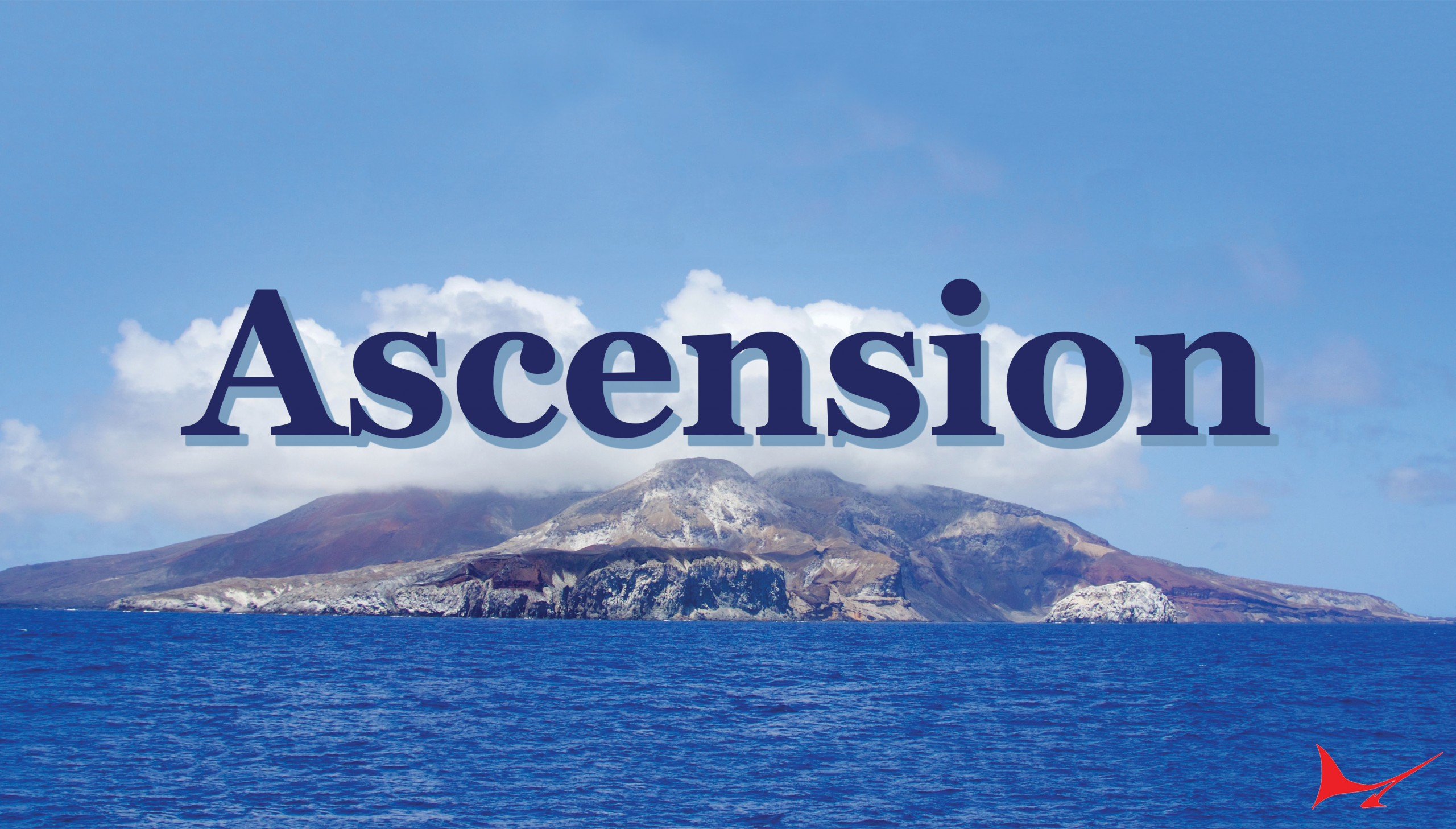 Ascension Island picture of the island with blue water around it