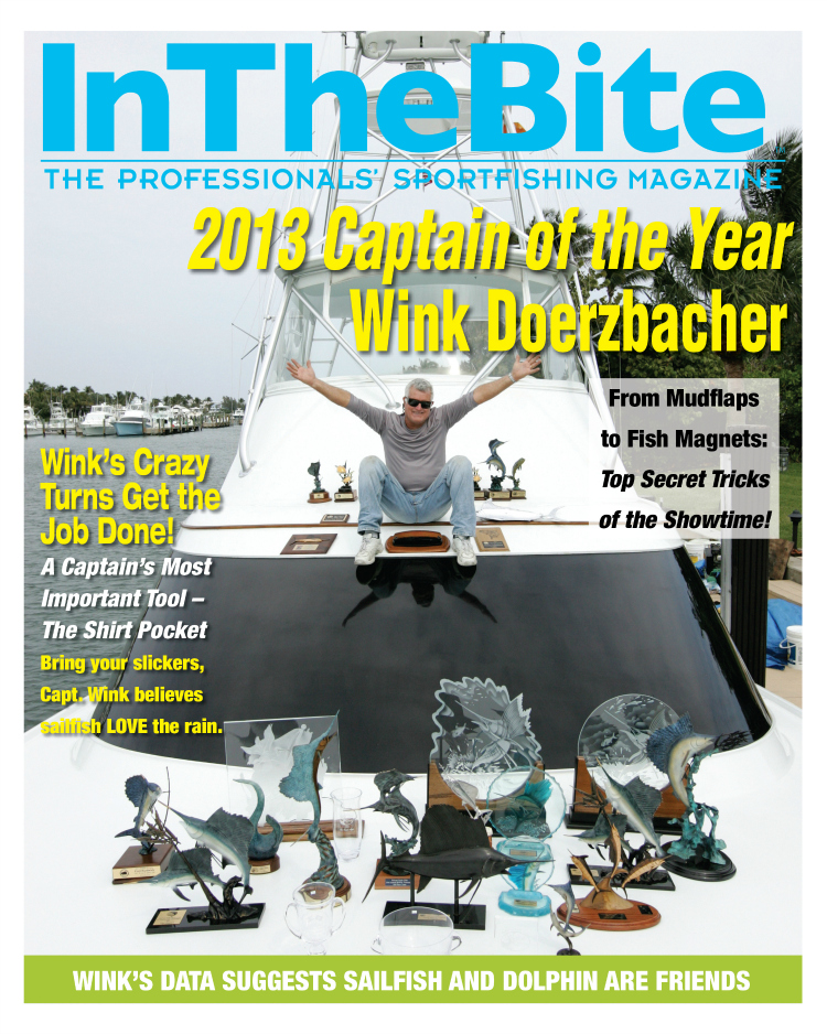 cover of inthebite magazine with a captain of the year pictured with his trophies on the front of his boat