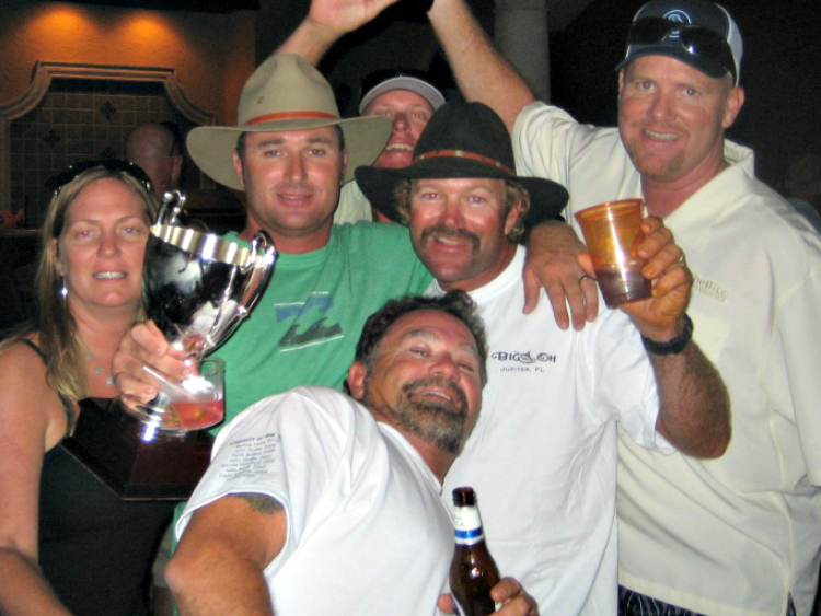 crews celebrating the captain of the year cup