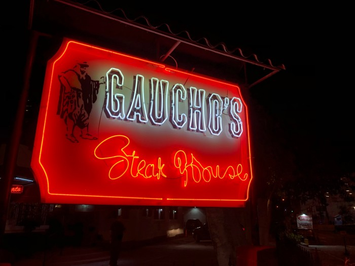 Goucho's Steak House neon sign