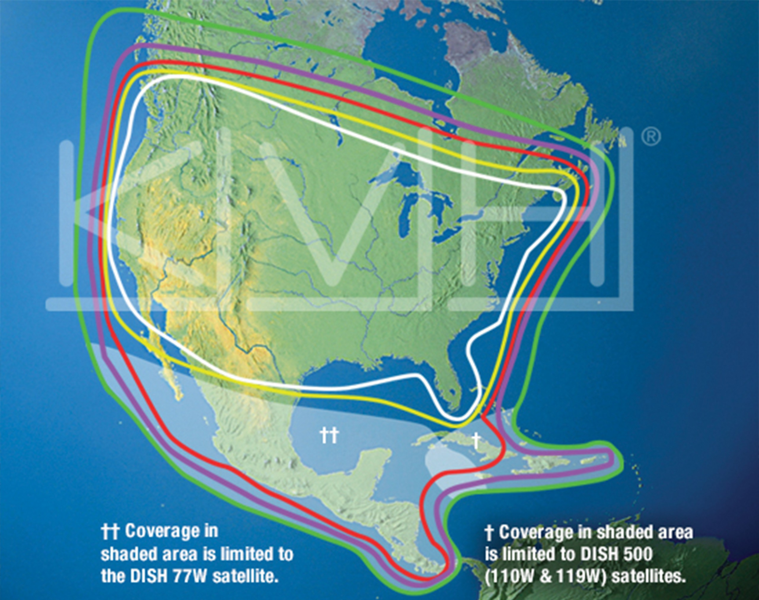 map showing KVH tv satelite coverage of North America