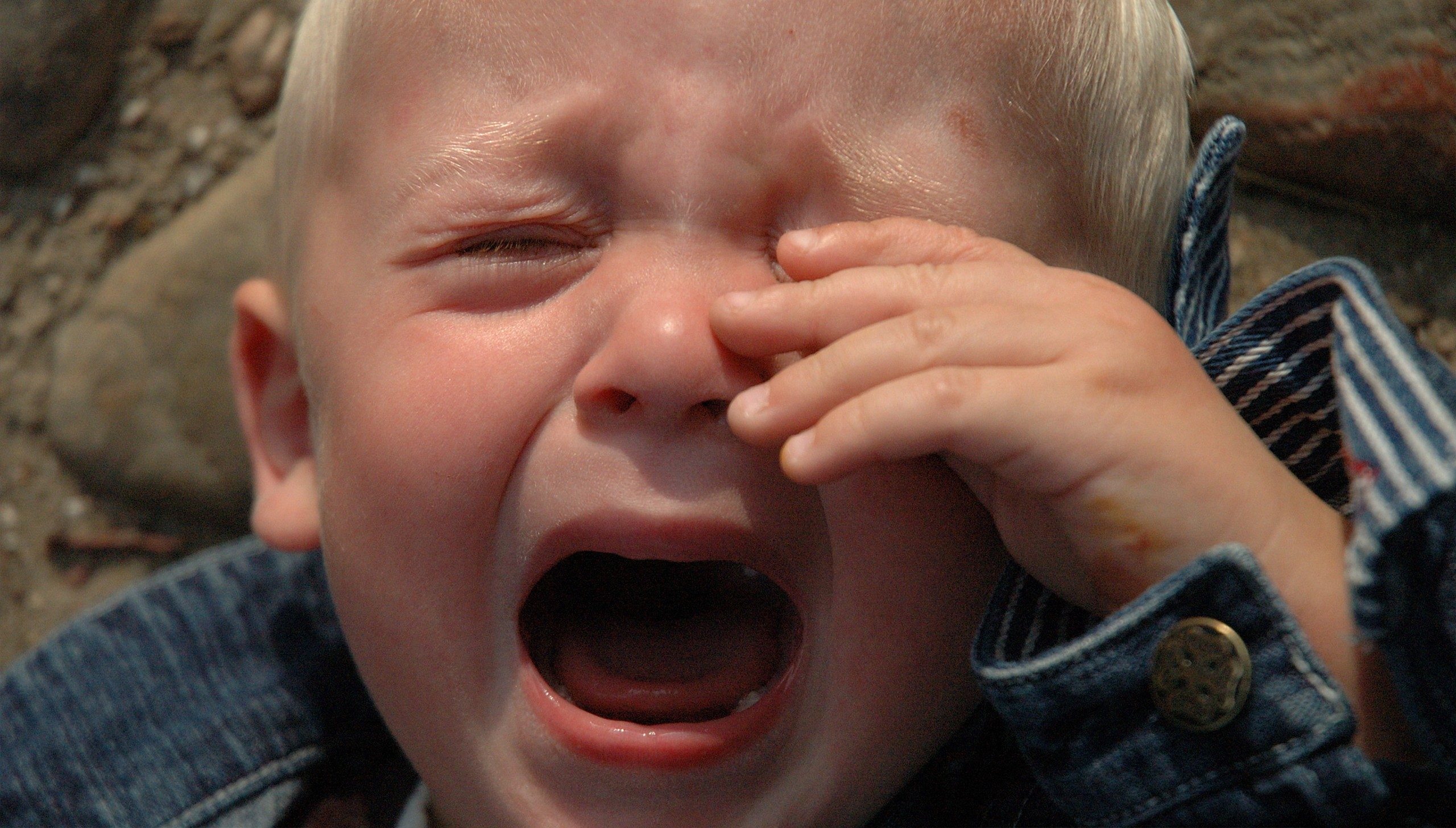 close up of kid crying