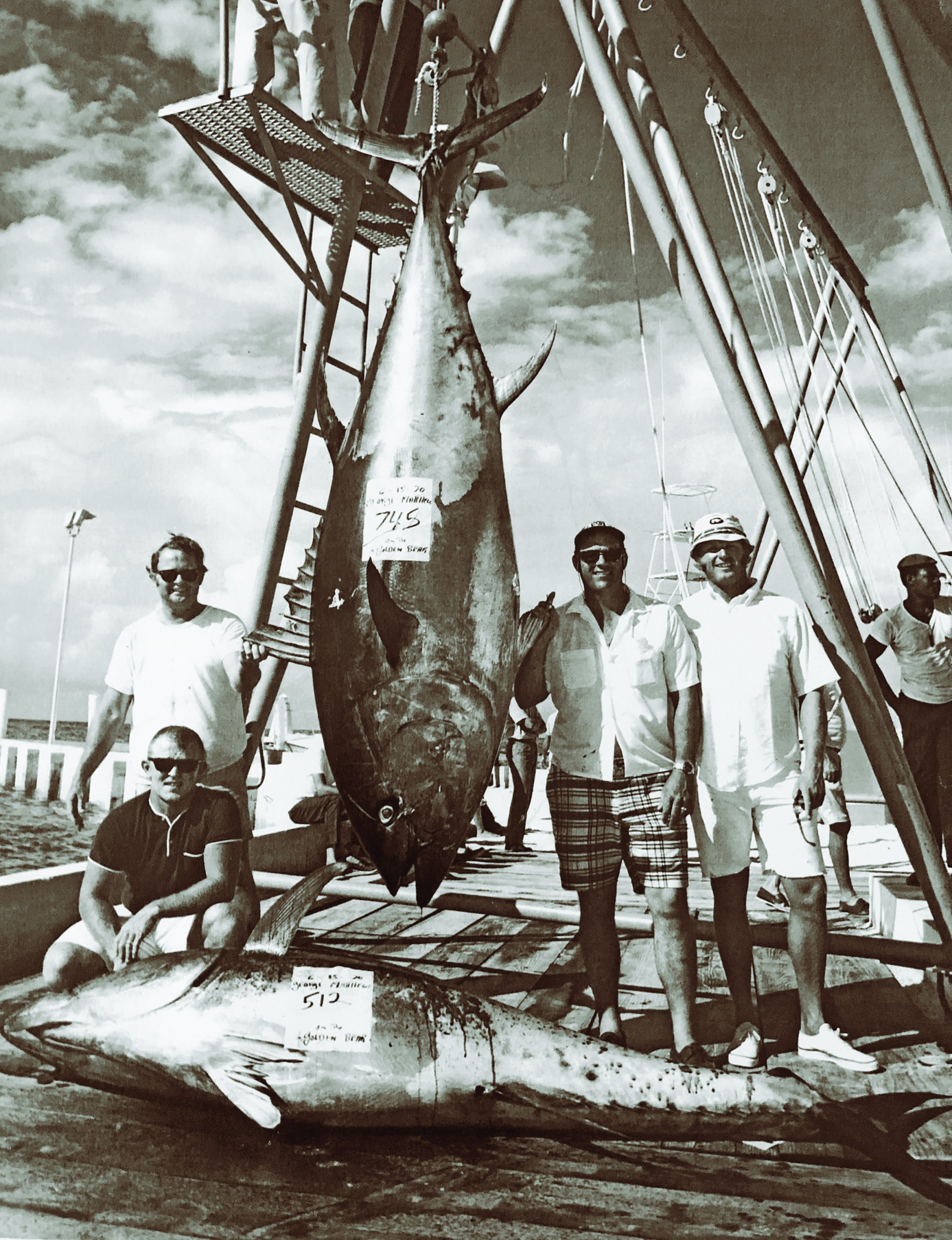 Cat Cay in 1970. Left to right it was Larry Hastings (kneeling), Charlie Hayden (standing), George Matthews and Gary Stuve.