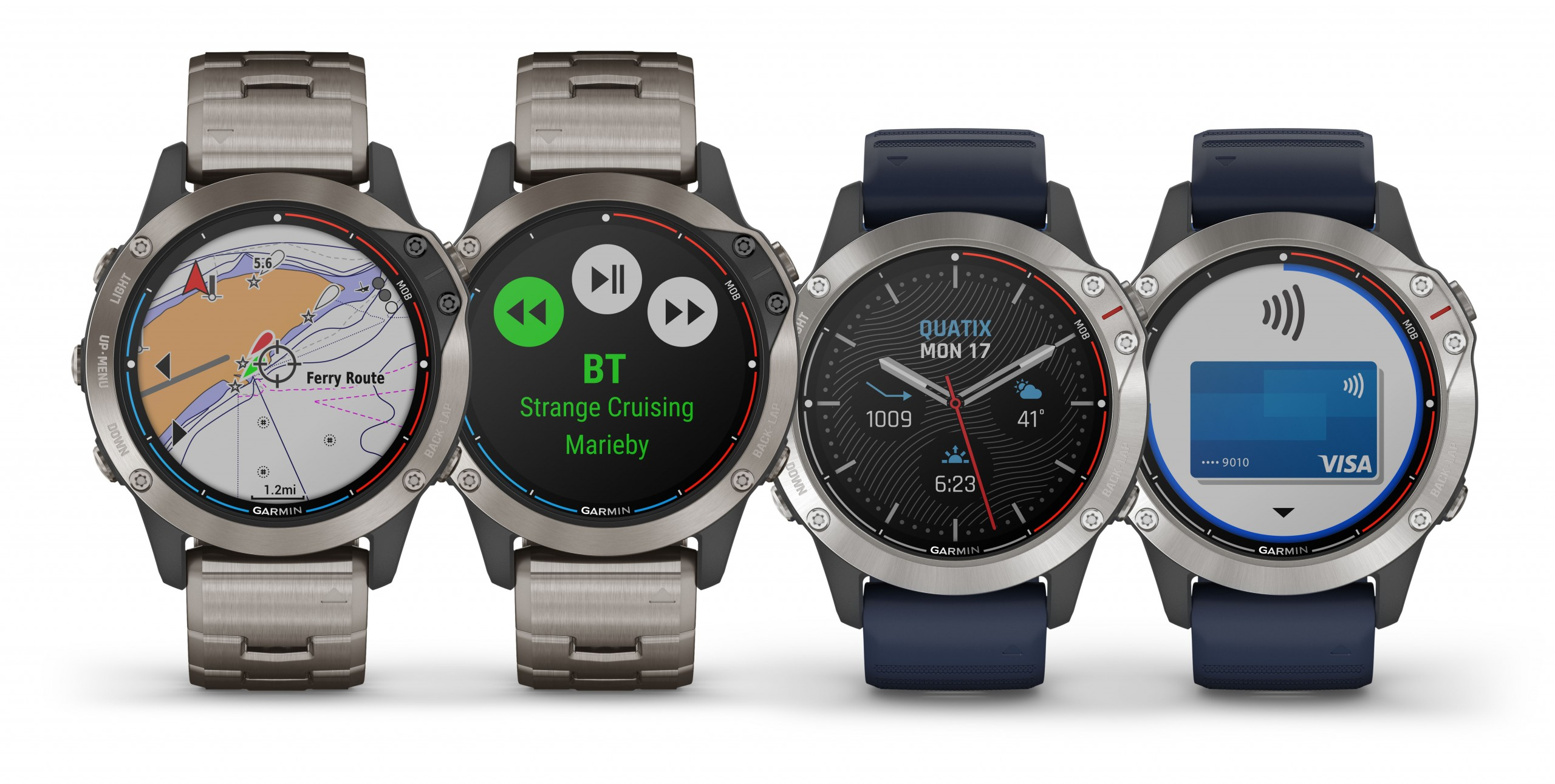 four Garmin quatix watches
