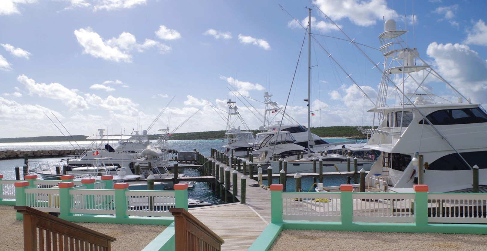 boats at the dock of flying fish marina in Clarence Town