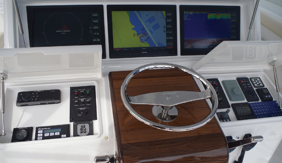 electronics at the helm of a boat