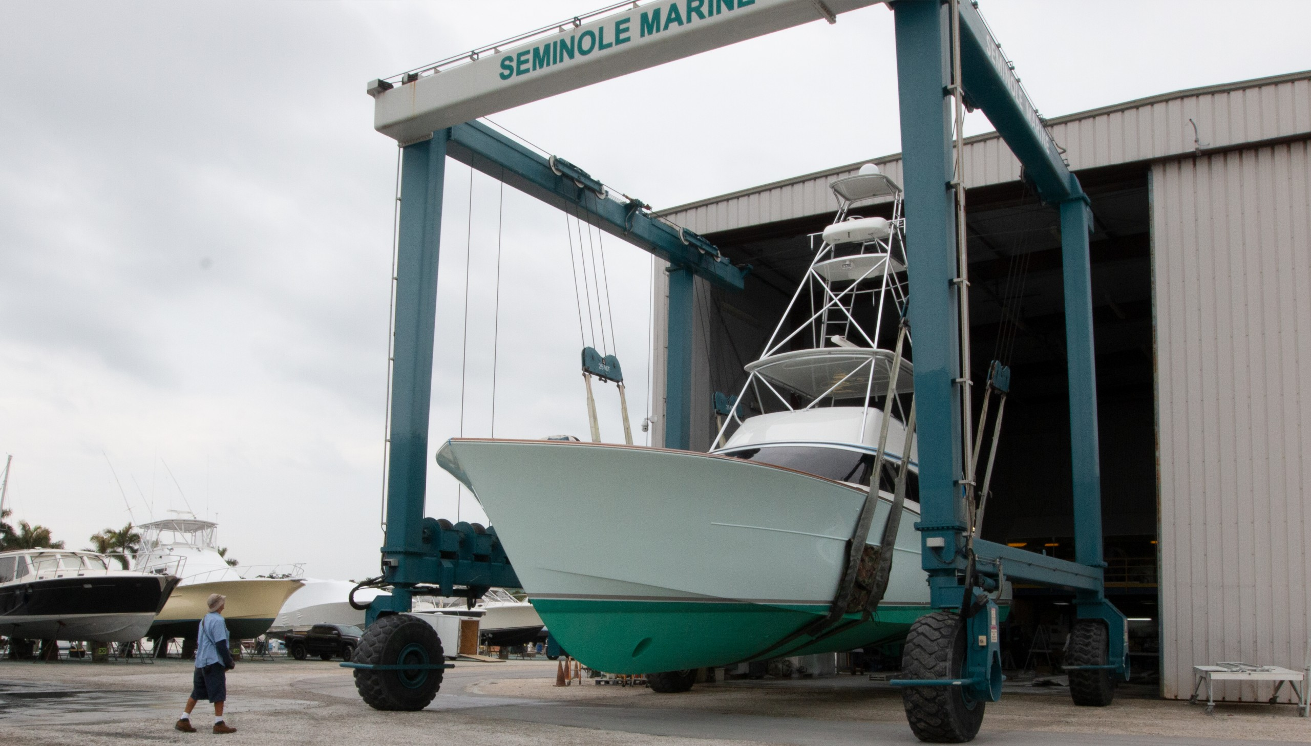 boat in sling at Seminole Boatyard