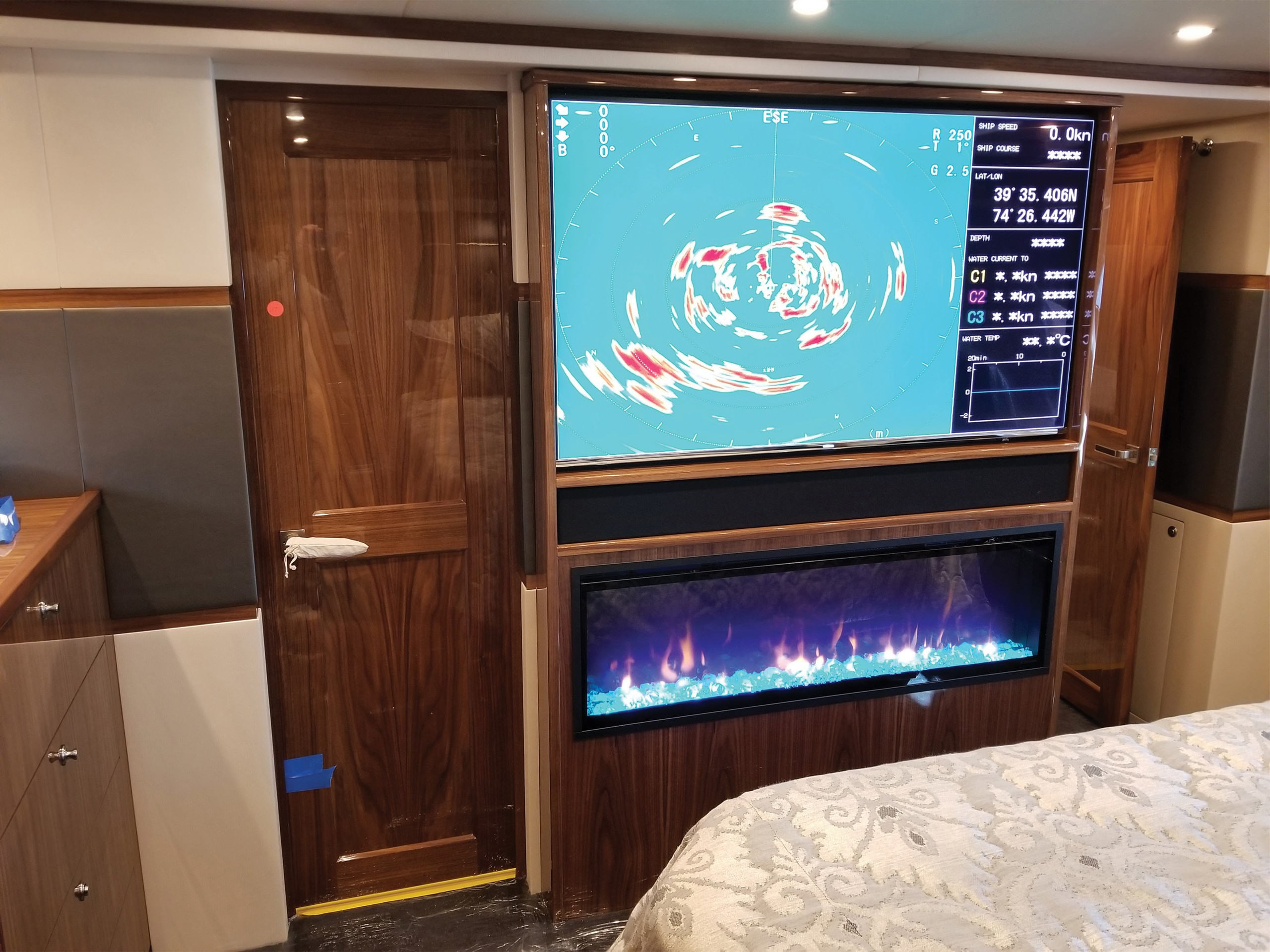 interior tv on a boat showing fishing sonar marks