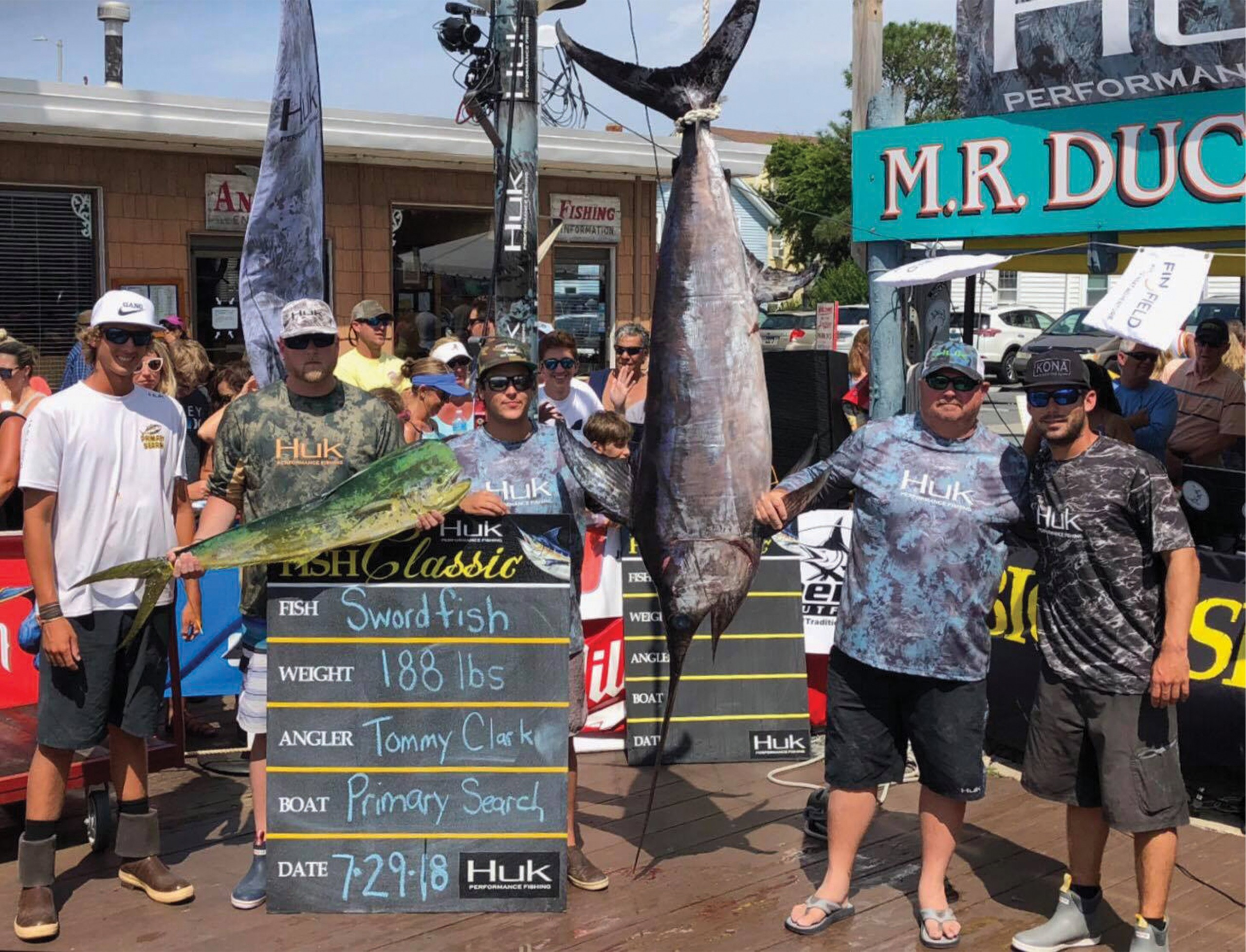 Primary Search crew weighing 188 lbs swordfish in Ocean City, Maryland
