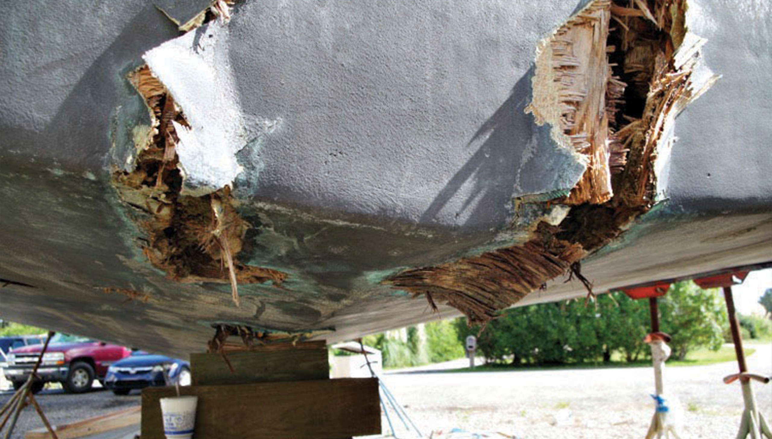 damage to the bottom of a boat