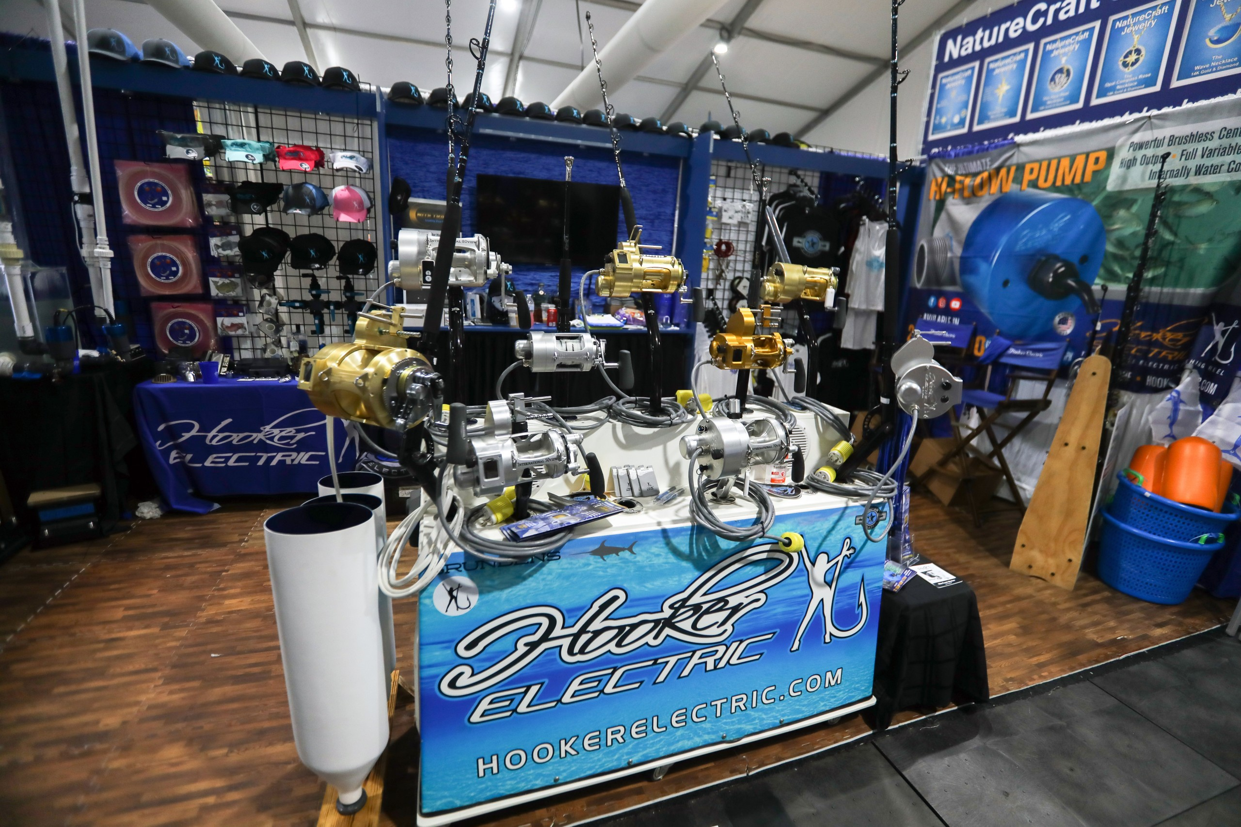 hooker electric reels and rods on display at the fort lauderdale boat show