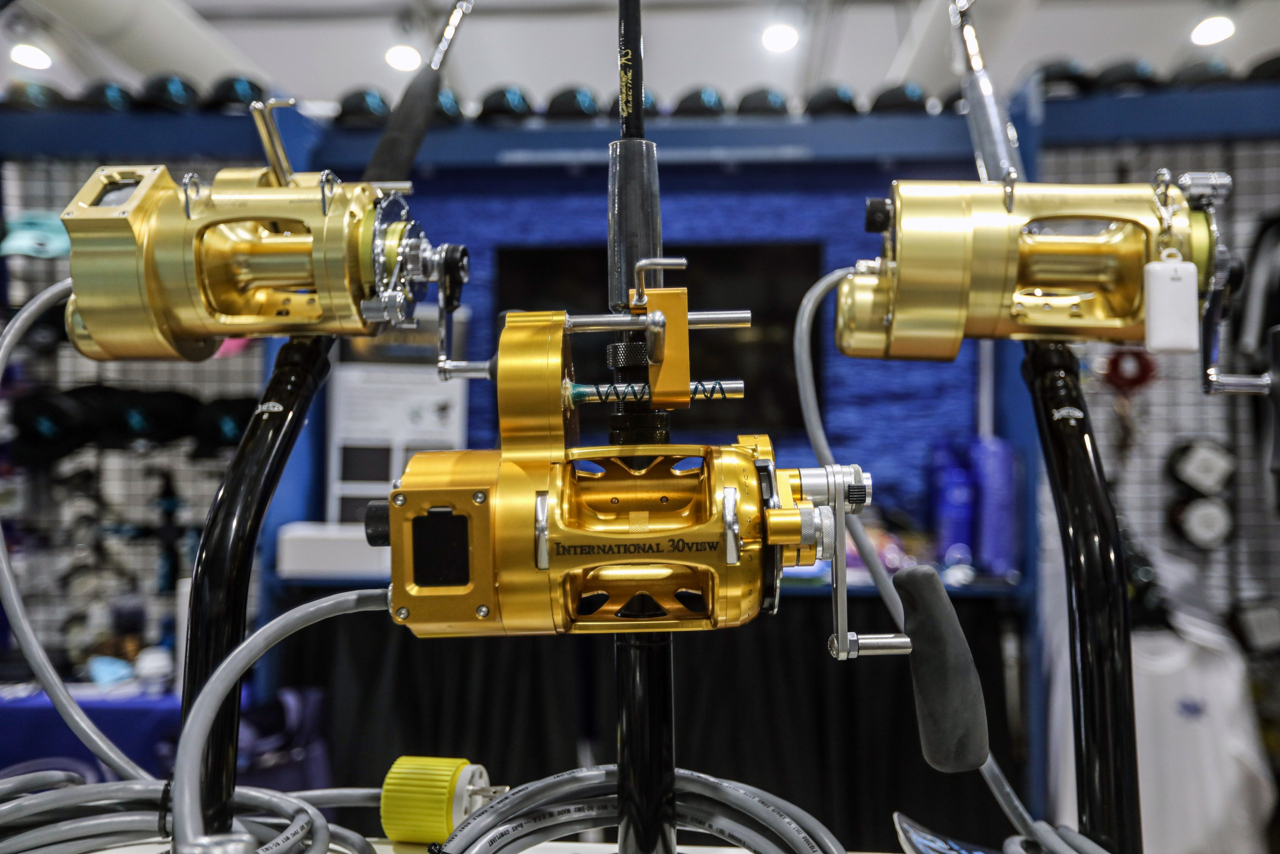reels and rods on display at the fort lauderdale boat show