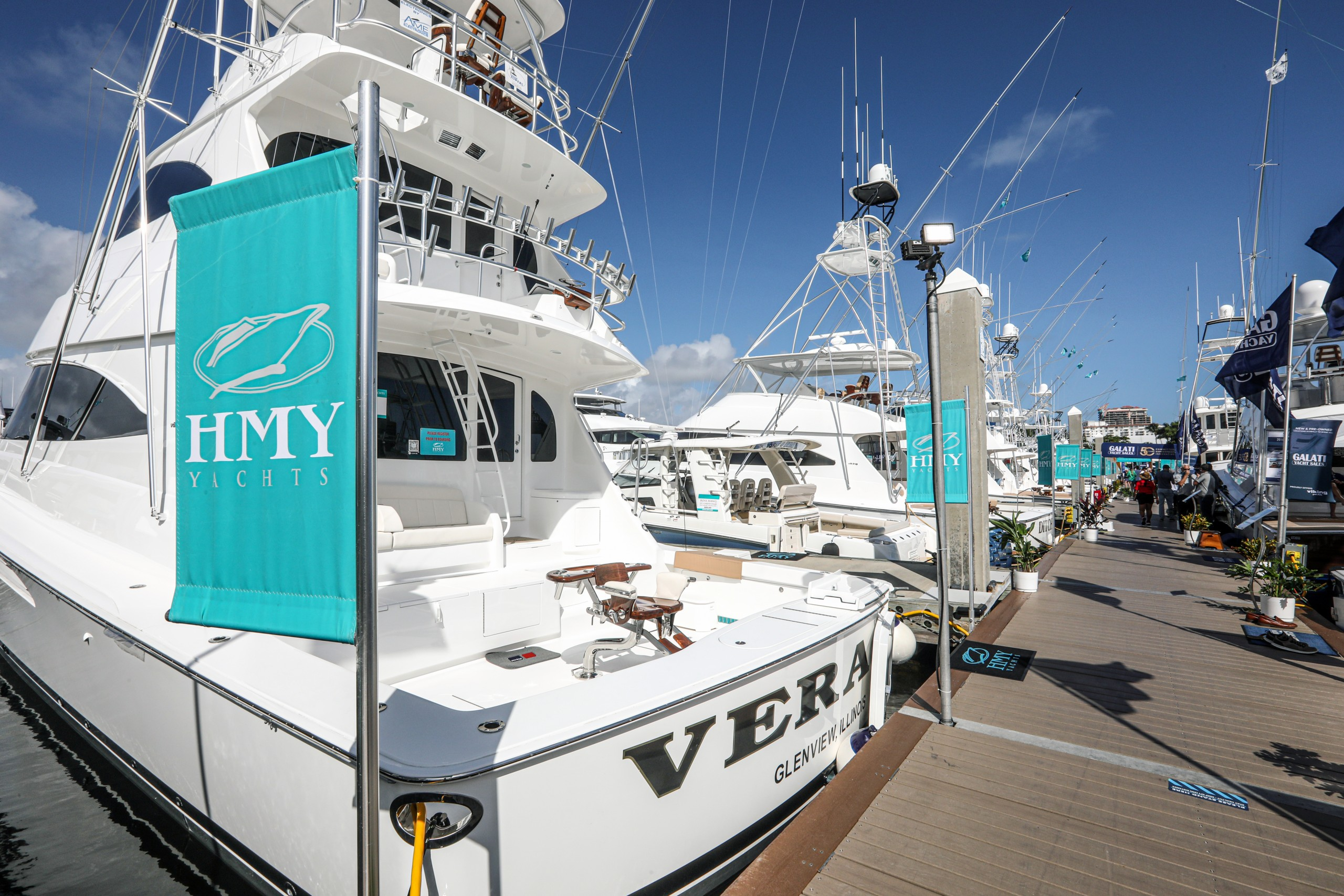 hmy yachts on display at the fort lauderdale boat show