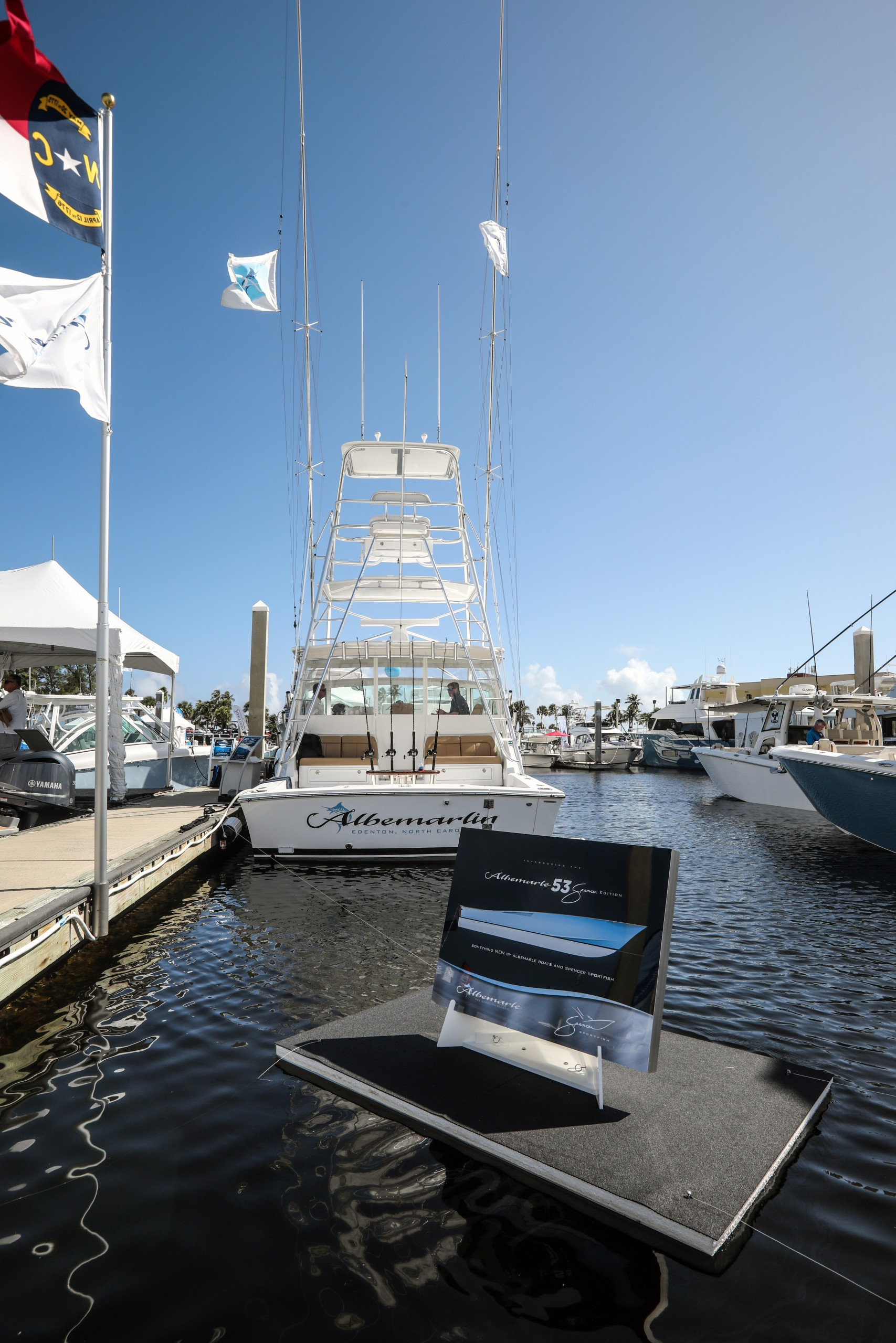 albemarle and spencer yachts on display at the fort lauderdale international boat show
