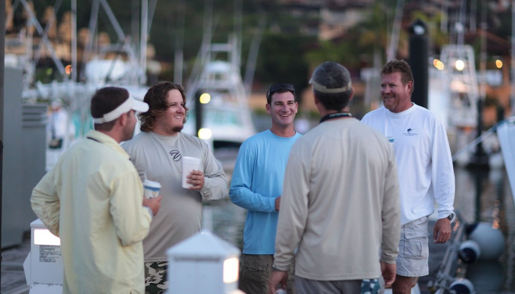 captain and crew talking at dock