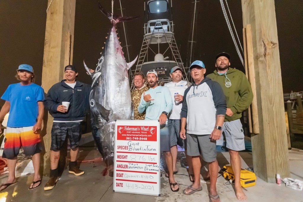 New Texas State Record Bluefin Tuna Weighing 876 Pounds