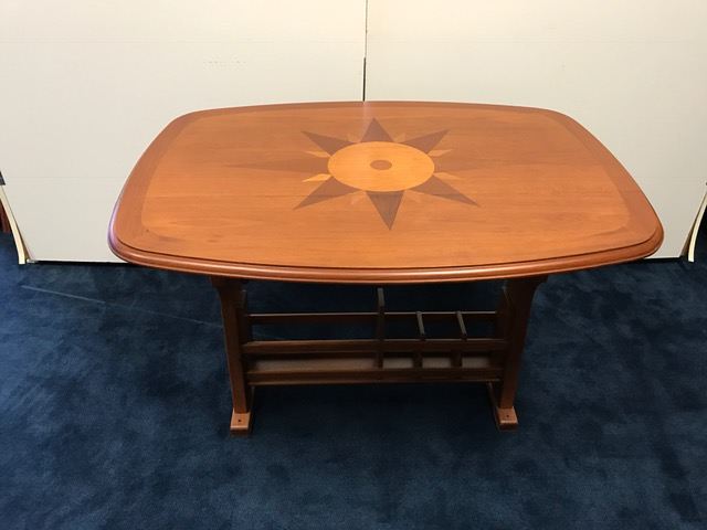 Inthebite Fixed Height Teak Table With Inlay Satin Finish With