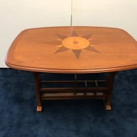 Fixed height teak table with inlay, satin finish with drawer and underside